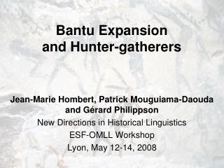 Bantu Development and Seeker gatherers