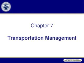 Section 7 Transportation Administration