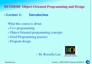 DCO10105 Object-Arranged Programming and Plan