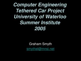 PC Designing Fastened Auto Venture College of Waterloo Summer Foundation 2005