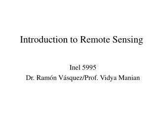 Prologue to Remote Detecting