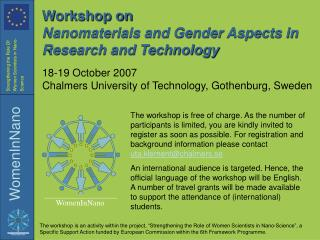 Workshop on Nanomaterials and Sex Viewpoints in Examination and Innovation