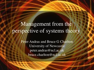 Administration from the viewpoint of frameworks hypothesis