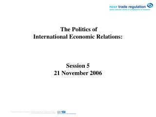 The Governmental issues of Universal Financial Relations : Session 5 21 November 2006