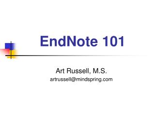 EndNote 101