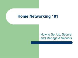 Home Systems administration 101