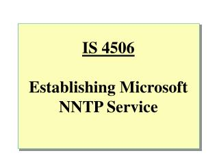IS 4506 Building up Microsoft NNTP Administration