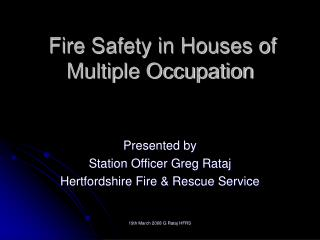 Fire Security in Places of Different Occupation