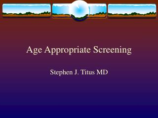 Age Fitting Screening
