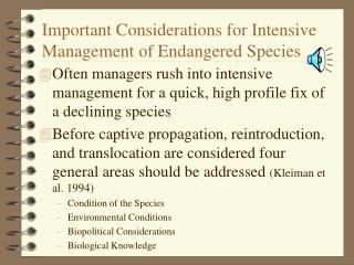Essential Contemplations for Serious Administration of Jeopardized Species