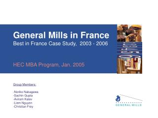 General Factories in France Best in France Contextual analysis, 2003 - 2006