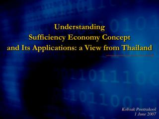 Understanding Adequacy Economy Idea and Its Applications: a Perspective from Thailand