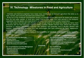 IV. Innovation Points of reference in Nourishment and Horticulture