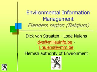 Ecological Data Administration Flanders locale (Belgium)