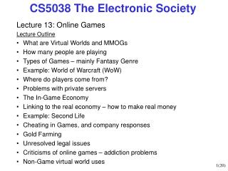 CS5038 The Electronic Culture