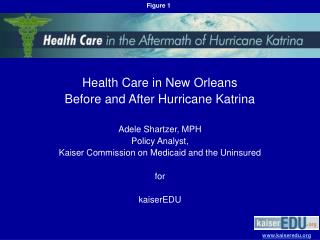 Medicinal services in New Orleans Previously, then after the fact Tropical storm Katrina Adele Shartzer, MPH Strategy Ex