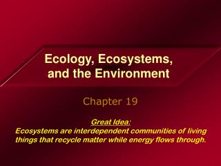 Nature, Biological communities, and The earth