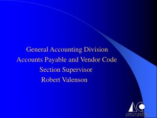 General Bookkeeping Division Creditor liabilities and Merchant Code 		 Area Manager Robert Valenson