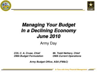 Dealing with Your Financial plan In a Declining Economy June 2010