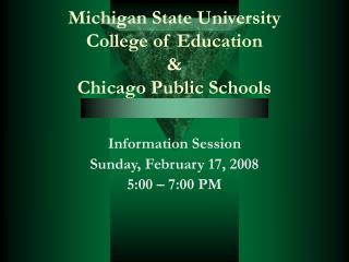Michigan State College School of Training and Chicago Government funded Schools