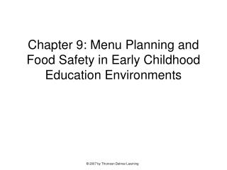 Part 9: Menu Arranging and Sustenance Security in Early Youth Training Situations