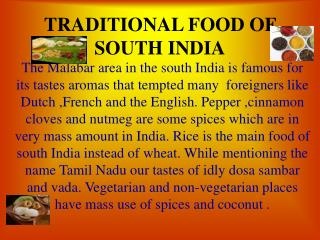 Customary Sustenance OF SOUTH INDIA