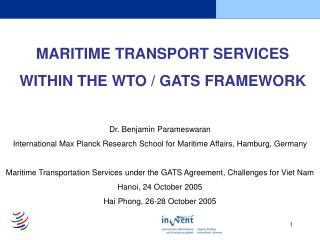 Oceanic TRANSPORT Administrations Inside of THE WTO/GATS Structure