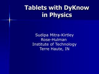 Tablets with DyKnow in Material science