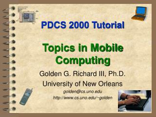 PDCS 2000 Instructional exercise Subjects in Versatile Registering