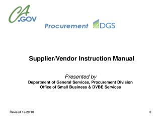 Supplier/Seller Direction Manual Displayed by Branch of General Administrations, Acquisition Division Office of Little B