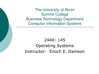 The College of Akron Summit School Business Innovation Office PC Data Frameworks