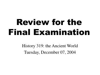Audit for the Last Examination