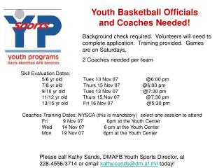 Youth Ball Authorities and Mentors Required!