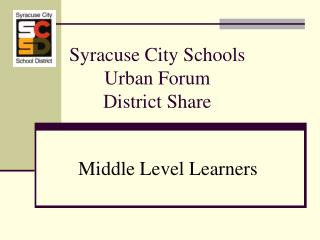 Syracuse City Schools Urban Discussion Locale Offer