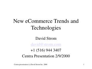 New eCommerce Patterns and Advances
