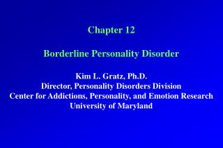 Part 12 Marginal Identity Issue Kim L. Gratz, Ph.D. Executive, Identity Issue Division