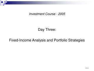 Speculation Course - 2005
