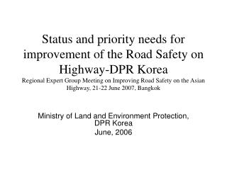 Service of Area and Environment Insurance, DPR Korea June, 2006