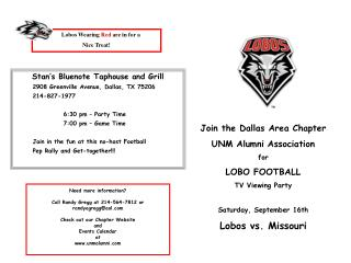 Join the Dallas Region Section UNM Graduated class Relationship for LOBO FOOTBALL television Seeing Gathering Saturday,