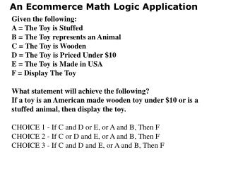 An Ecommerce Math Rationale Application