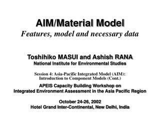 Point/Material Model Components, model and fundamental information