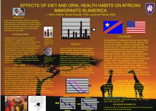 Impacts OF Eating regimen AND ORAL Wellbeing Propensities ON AFRICAN Migrants IN AMERICA L. Wynn Palmer, Nicole Okazaki,