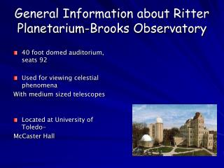 General Data about Ritter Planetarium-Creeks Observatory