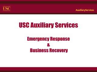 USC Assistant Administrations Crisis Reaction and Business Recuperation