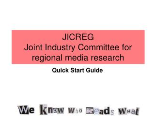 JICREG Joint Industry Board of trustees for territorial media research