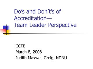 Do's and Don't's of Accreditation