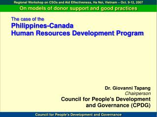 The instance of the Philippines-Canada HR Advancement Program