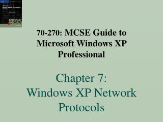 70-270: MCSE Manual for Microsoft Windows XP Proficient Section 7: Windows XP System Conventions