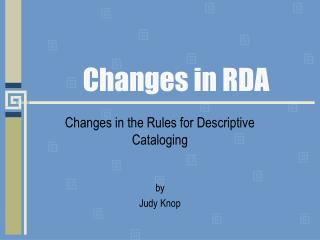 Changes in RDA