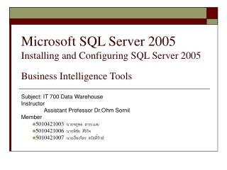 Microsoft SQL Server 2005 Introducing and Designing SQL Server 2005 Business Knowledge Apparatuses